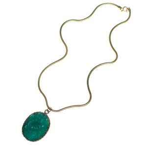 Jewelry - Vintage 1960s Pressed Jade Glass Pendant Necklace
